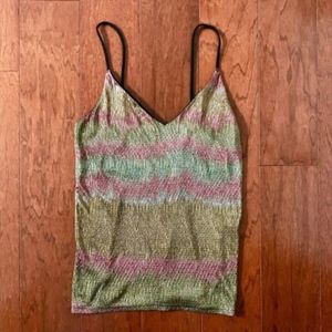 Metallic Gold Shimmery Multicolor Tank Top